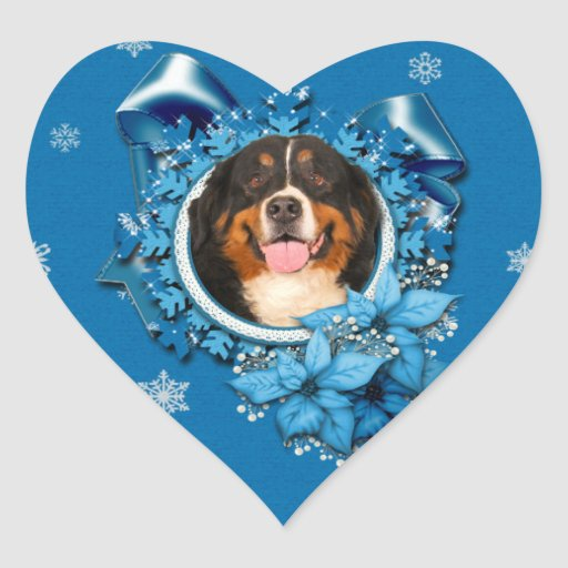 Christmas - Blue Snowflakes - Bernese Mountain Dog Heart Sticker
