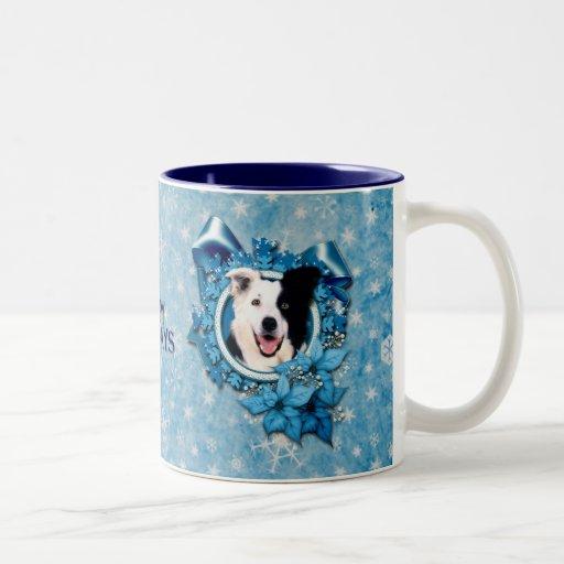 Christmas - Blue Snowflakes - Border Collie Two-Tone Coffee Mug