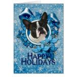 Christmas - Blue Snowflakes - Boston Terrier Greeting Card