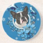 Christmas - Blue Snowflakes - Boston Terrier Beverage Coasters