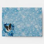 Christmas - Blue Snowflakes - Boston Terrier Envelope
