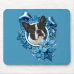 Christmas - Blue Snowflakes - Boston Terrier Mousepad