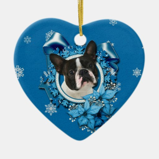 Christmas - Blue Snowflakes - Boston Terrier Double-Sided Heart Ceramic Christmas Ornament