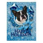 Christmas - Blue Snowflakes - Boston Terrier Postcard