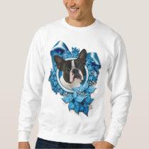 Christmas - Blue Snowflakes - Boston Terrier Sweatshirt