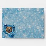 Christmas - Blue Snowflakes - Bulldog Envelope
