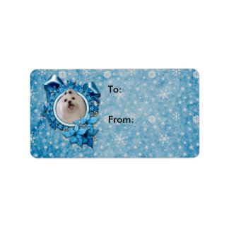 Christmas - Blue Snowflakes - Maltese Address Label