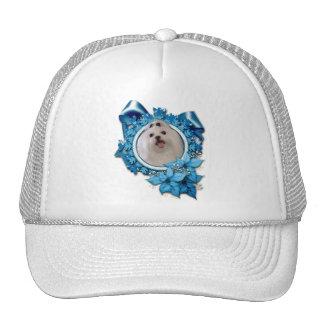 Christmas - Blue Snowflakes - Maltese Trucker Hat