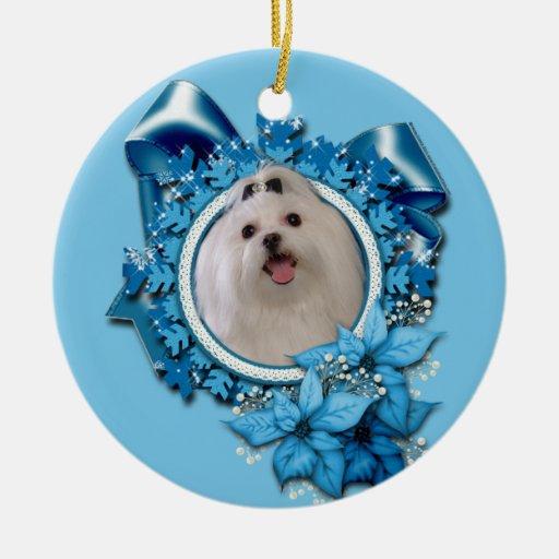 Christmas - Blue Snowflakes - Maltese Ornament