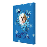 Christmas - Blue Snowflakes - Shih Tzu - Williams Stretched Canvas Prints