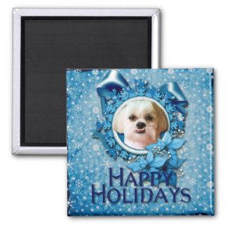 Christmas - Blue Snowflakes - Shih Tzu - Williams Fridge Magnets