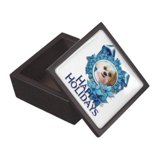 Christmas - Blue Snowflakes - Shih Tzu - Williams Premium Jewelry Boxes