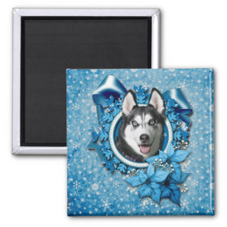 Christmas - Blue Snowflakes - Siberian Husky 2 Inch Square Magnet