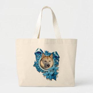 Christmas - Blue Snowflakes - Siberian Husky Tote Bag