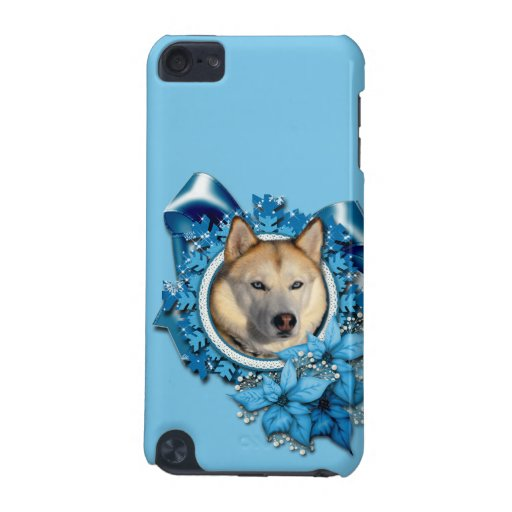 Christmas - Blue Snowflakes - Siberian Husky iPod Touch 5G Case