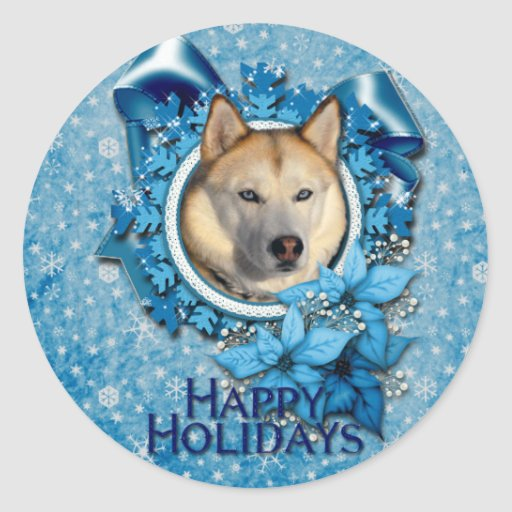 Christmas - Blue Snowflakes - Siberian Husky Classic Round Sticker