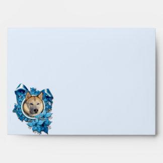 Christmas - Blue Snowflakes - Siberian Husky Envelope