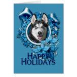 Christmas - Blue Snowflakes - Siberian Husky Greeting Card