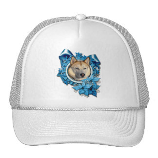 Christmas - Blue Snowflakes - Siberian Husky Trucker Hats