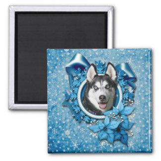 Christmas - Blue Snowflakes - Siberian Husky Magnet