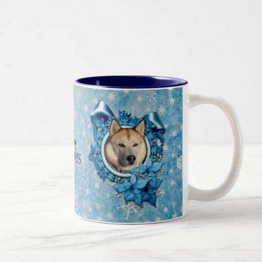 Christmas - Blue Snowflakes - Siberian Husky Two-Tone Coffee Mug