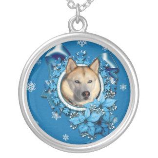 Christmas - Blue Snowflakes - Siberian Husky Pendant