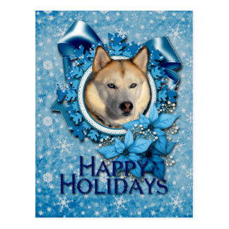 Christmas - Blue Snowflakes - Siberian Husky Postcard