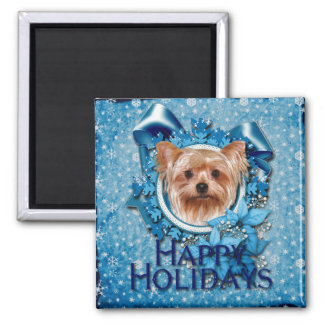 Christmas - Blue Snowflakes - Yorkshire Terrier 2 Inch Square Magnet