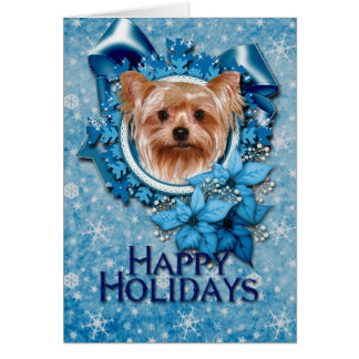Christmas - Blue Snowflakes - Yorkshire Terrier Card