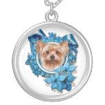 Christmas - Blue Snowflakes - Yorkshire Terrier Pendant