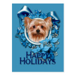 Christmas - Blue Snowflakes - Yorkshire Terrier Postcard