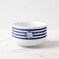Christmas Blue Striped Soup Mug