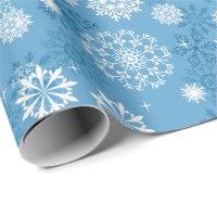 Christmas blue white snowflake pattern wrap wrapping paper