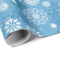 Christmas blue white snowflake pattern wrap wrapping paper