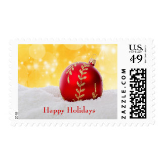 Christmas Bokeh Snow Christmas Ball Postage