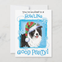 Christmas Border Collie Holiday Invitation