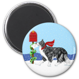 Christmas Border Collie Mail 2 Inch Round Magnet