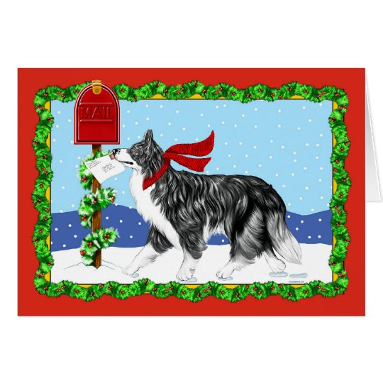 Christmas Border Collie Mail Card