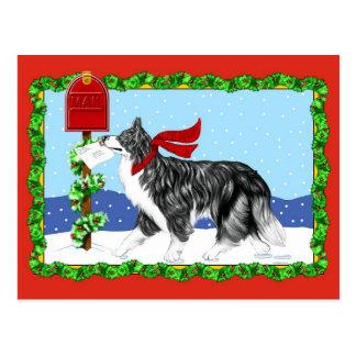 Christmas Border Collie Mail Postcard