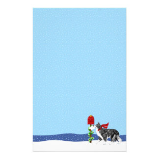Christmas Border Collie Mail Stationery