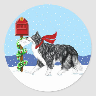 Christmas Border Collie Mail Classic Round Sticker