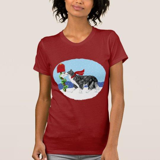 Christmas Border Collie Mail T-Shirt