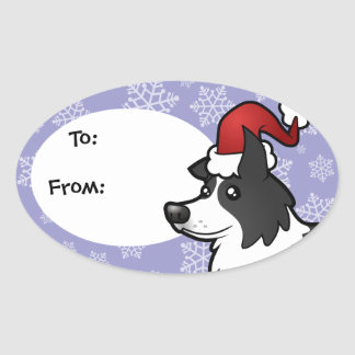 Christmas Border Collie Oval Stickers
