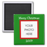 Christmas Border - Merry Christmas 2 Inch Square Magnet