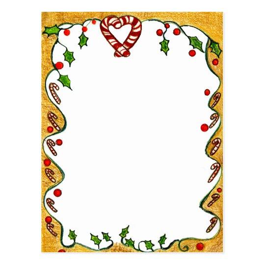 Christmas Border, Peppermints, Holly, Heart Postcard