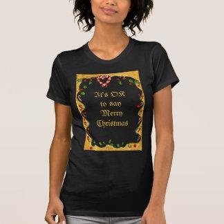 Christmas Border, Peppermints, Holly, Heart T-Shirt