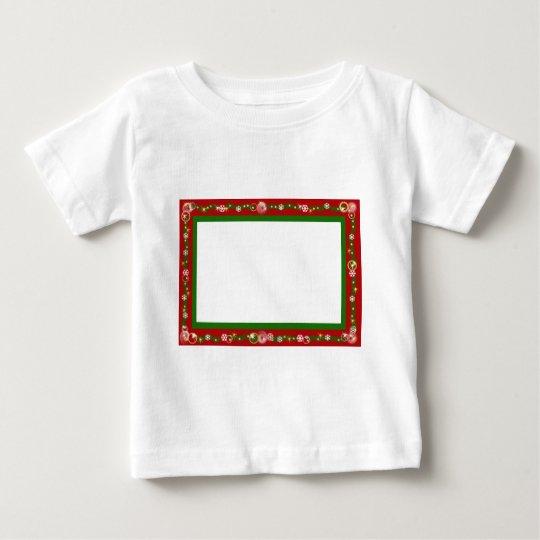 Christmas border red ribbon snowflakes baby T-Shirt