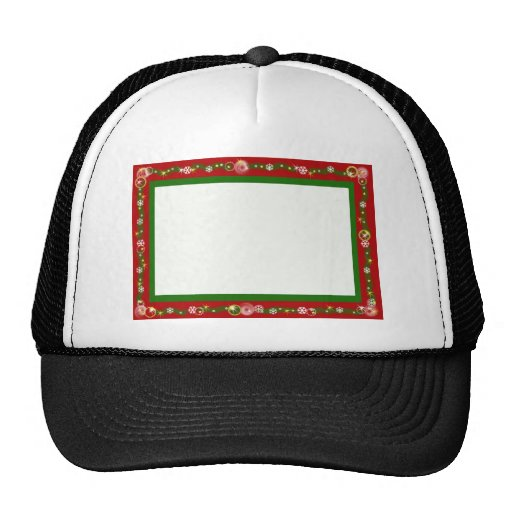 Christmas border red ribbon snowflakes mesh hat