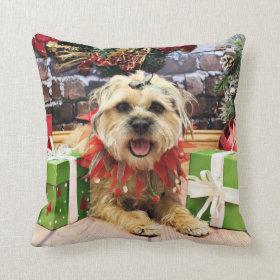 Christmas - Border Terrier - Reagan Throw Pillow