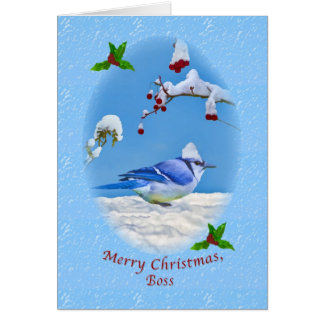 Christmas, Boss,  Blue Bird and Snow Greeting Card